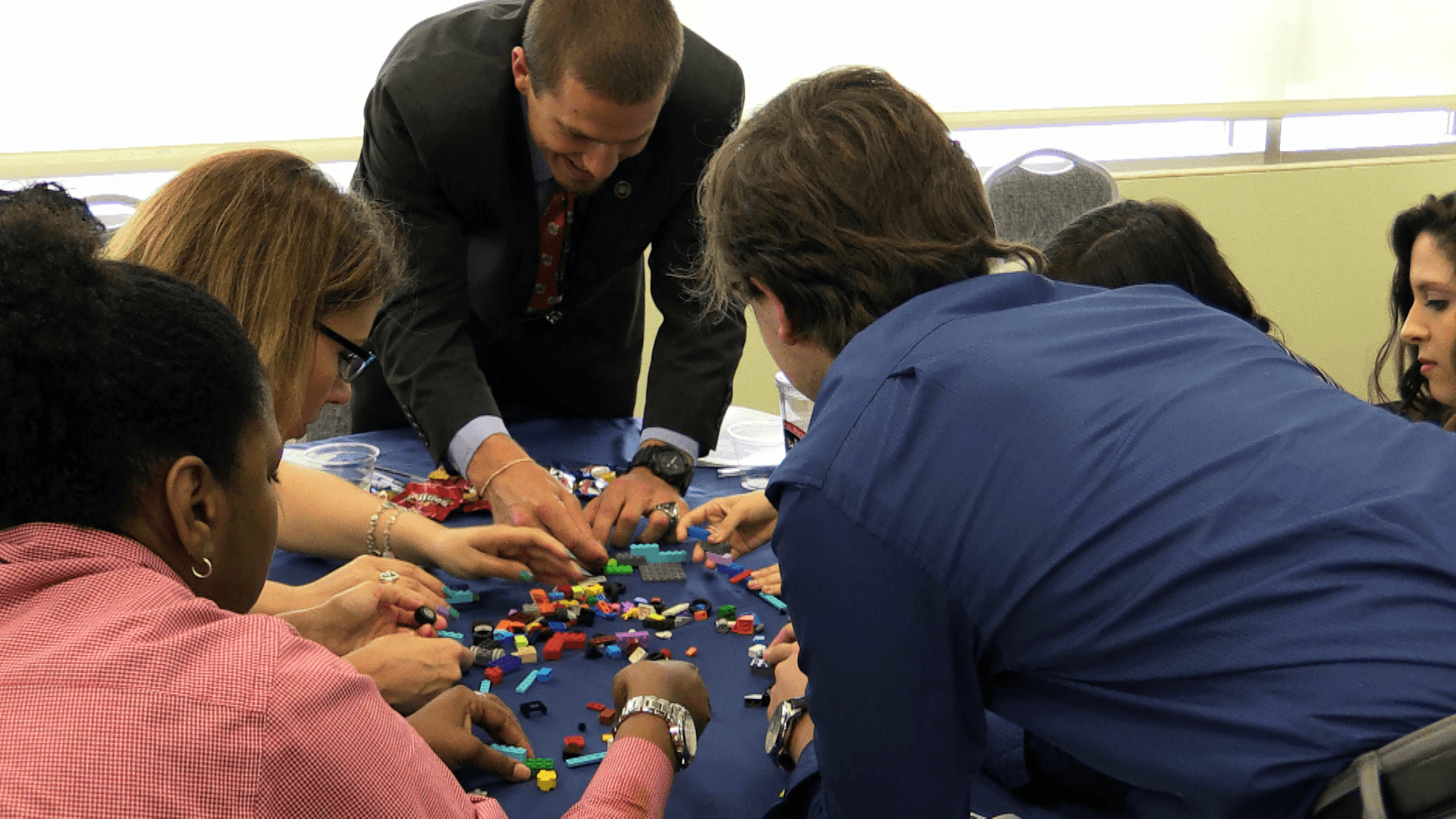 NSLS members problem solving with legos